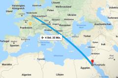 Unsere Flugroute von Düsseldorf nach Hurghada